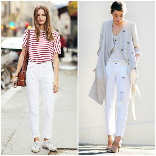 white boyfriend jeans fall street style outfits 20