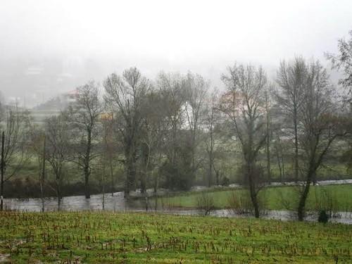 Cheia do Rio Coura e do Ribeiro de Brunheiros fron