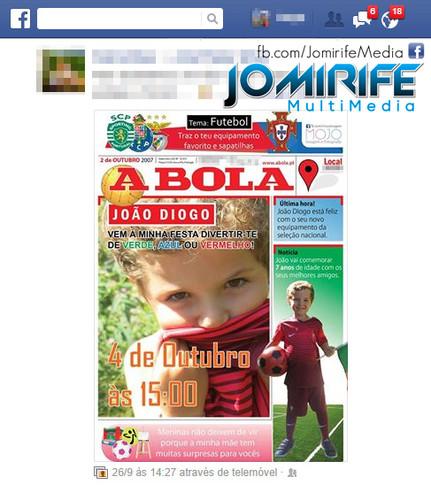 Convite aniversario Capa Jornal A Bola: Facebook