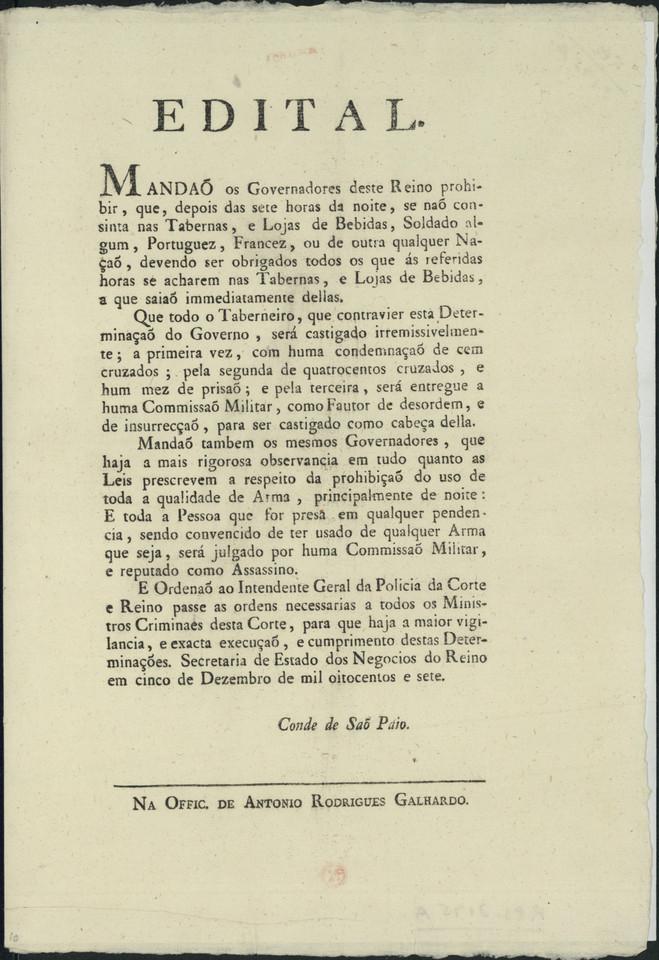 Edital dos Governadores do Reino, proibindo a perm