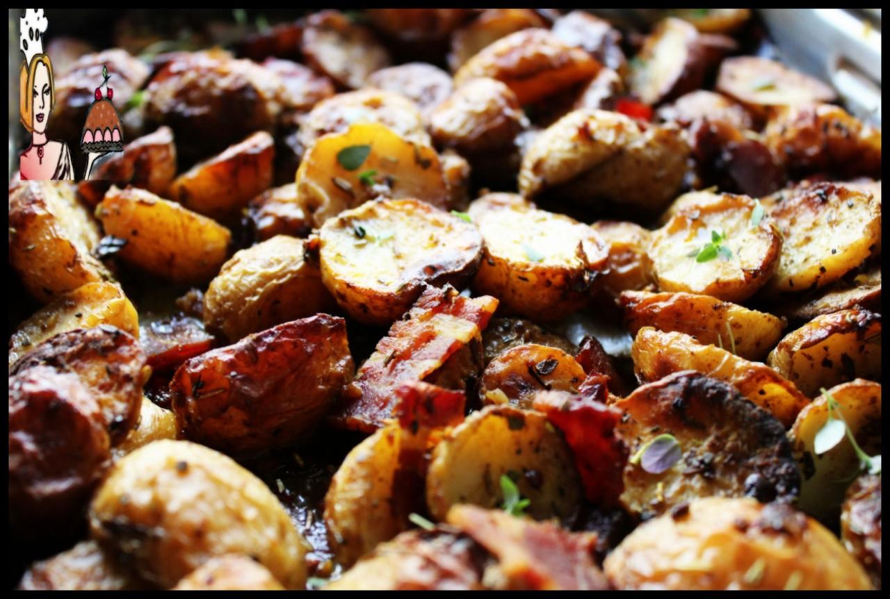 Receita de batatas assadas com especiarias e bacon