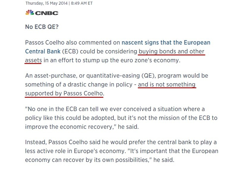 CNBC - ECB buying bons and other assets is somethi
