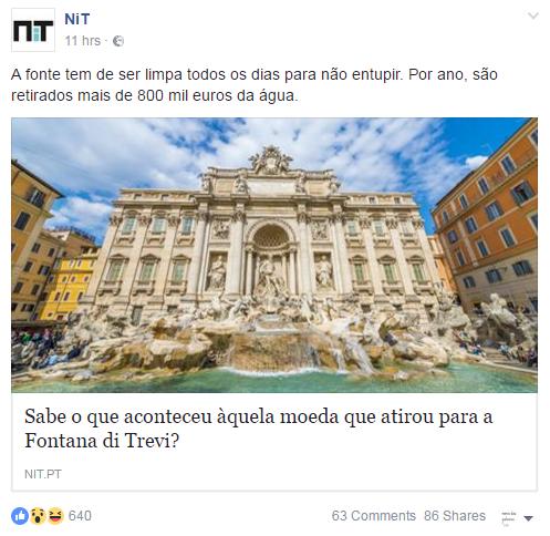 Sabe o que aconteceu àquela moeda que atirou para a Fontana di Trevi? - NiT