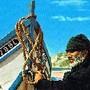Nazare areal velho pescador barco tradicional