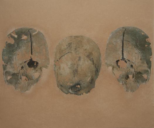 triple skull, mixed tecnic on board.jpg