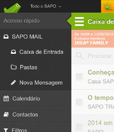 SAPO Mail - novo menu mobile