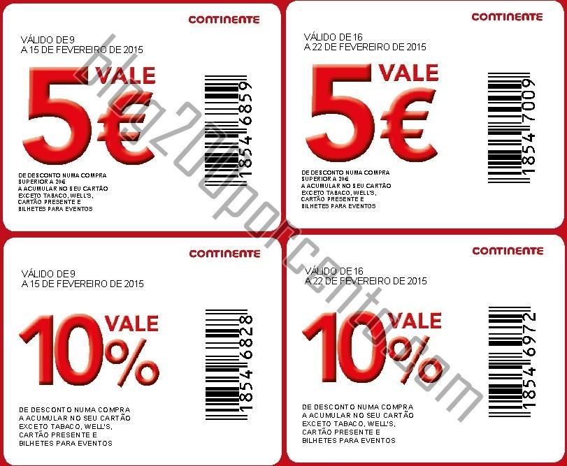 cupão 5 euros e 10 %