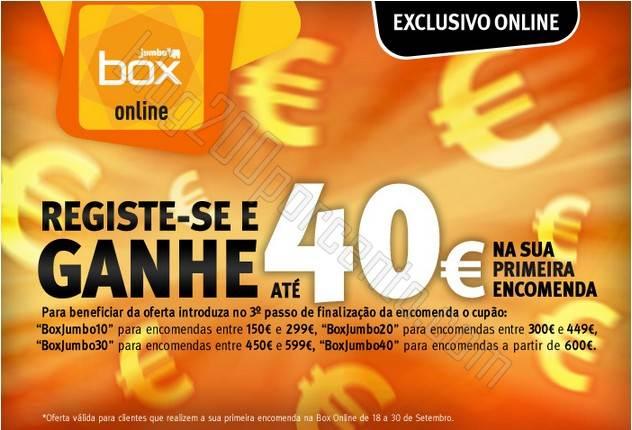 Ganhe até 40€ BOX / JUMBO de 18 a 30 setembro