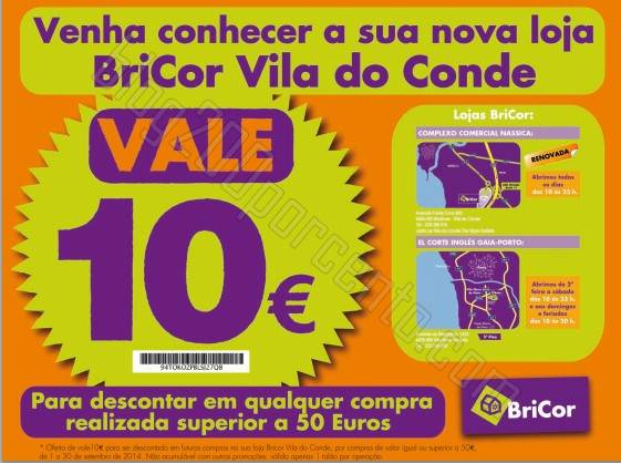 Vale de 10€ de desconto BRICOR Vila do Conde